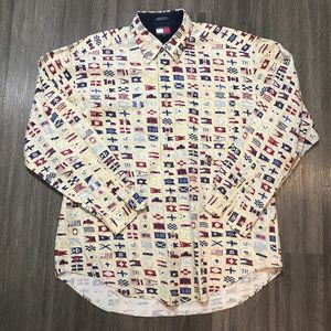 Vintage 90s Tommy Hilfiger Nautical Flags Shirt